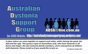 Australian Dystonia Support Group Card