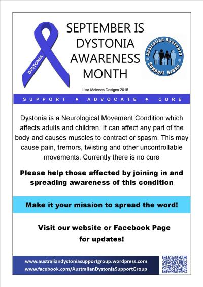 Dystonia Awareness Month Poster 2015