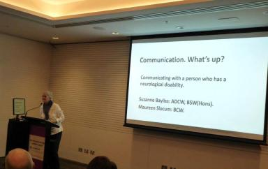 Suzanne Bayliss presented Communication. What's UP? Communicating with a person who has a neurological disability