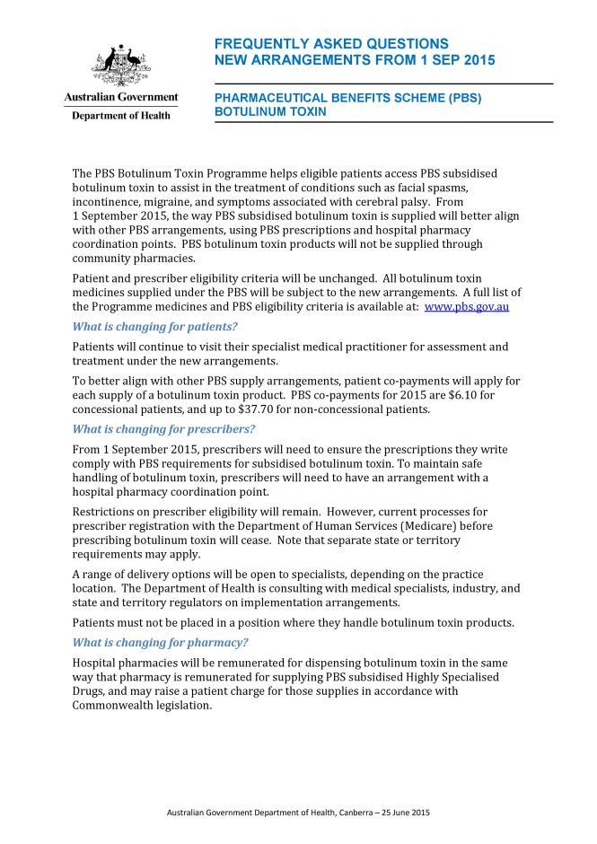The PBS Botulinum Toxin Programme