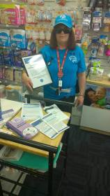 Sue Williams, a lovely ADSG member at the Dystonia Awareness Stall at Greenwith Pharmacy.