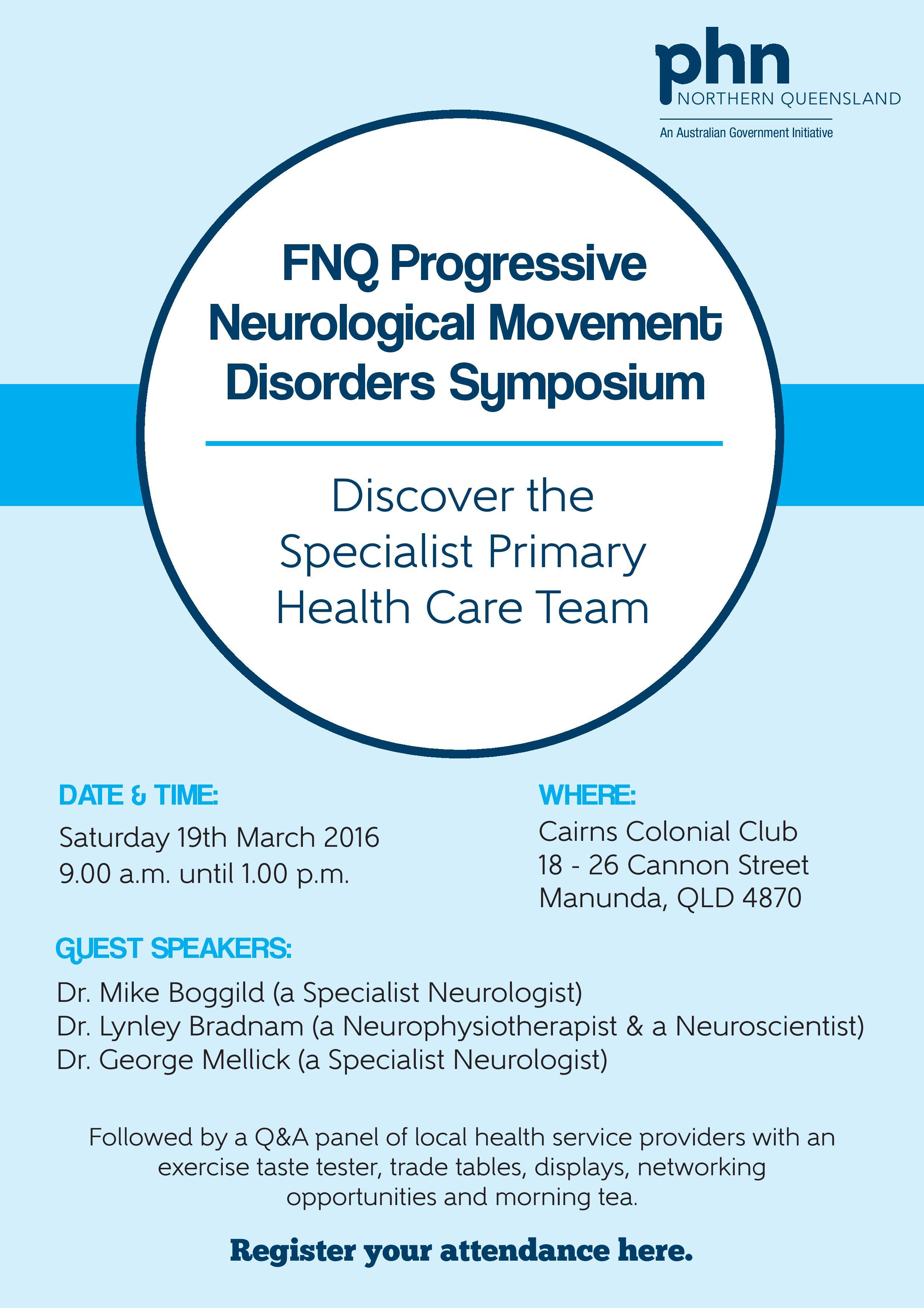 Attend a Progressive Neurological Movement Disorders