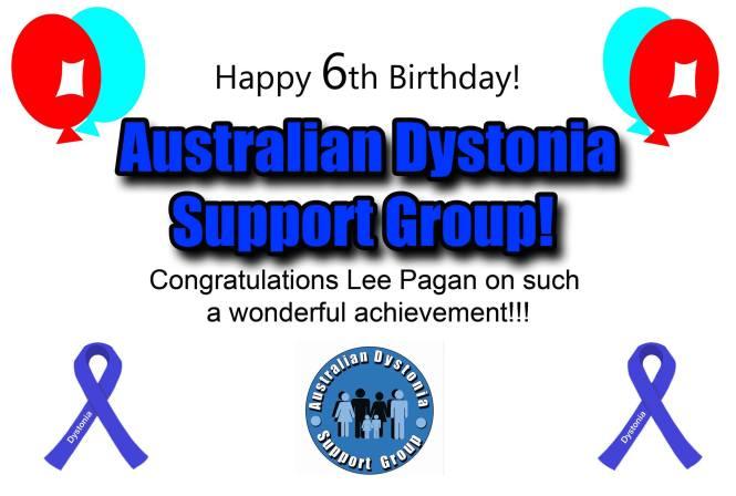 Happy Birthday Australian Dystonia Support Group